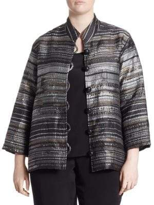 Caroline Rose Plus Metallic Jacquard Jacket