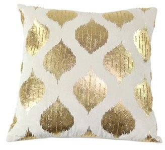 Decmode Modern 17 X 17 Inch Square White Cushion Cover In Spade-Shaped Inspired Patterns