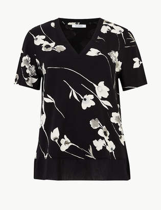 Marks and Spencer Floral Print V-Neck Short Sleeve T-Shirt