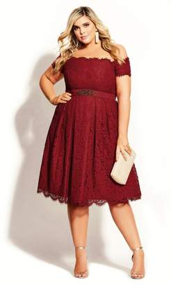 City Chic Citychic Lace Dreams Dress - emerald