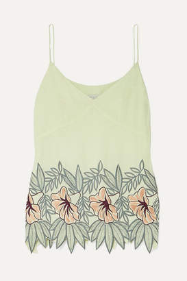 Dries Van Noten Embroidered Crepe Camisole - Pastel yellow