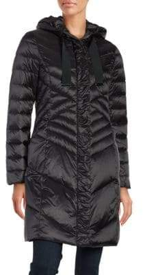Tahari Hooded Mid Length Puffer Coat
