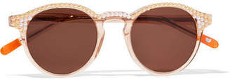 Freda Banana - Alexis Faux Pearl-embellished Round-frame Acetate Sunglasses - Peach