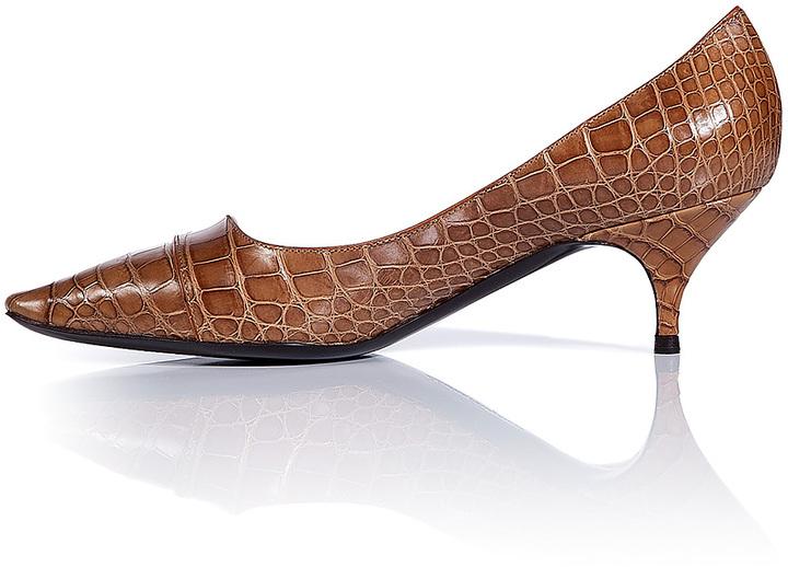 Salvatore Ferragamo Cinnamon Tweeny Crocodile Kitten-Heel Pumps