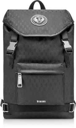 988ec88cbc71 Versace Versus Black Signature Nylon Men s Backpack w Lion Head