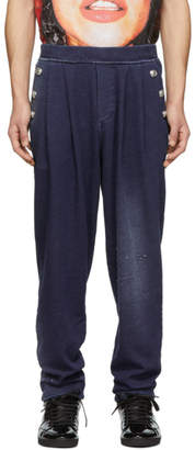 Balmain Blue Buttoned Jersey Lounge Pants