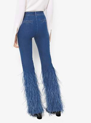Michael Kors Ostrich Feather-Embroidered Flared Jeans