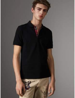 Burberry Tartan Trim Cotton Piqué Polo Shirt