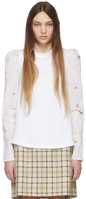 See by Chloe White Embroidered Long Sleeve T-Shirt