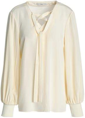 Tibi Lace-Up Silk Crepe De Chine Blouse