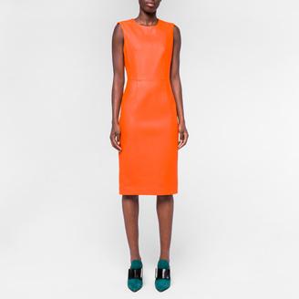Women's Orange Lamb Leather Shift Dress $795 thestylecure.com