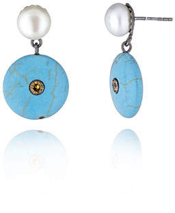 MCL by Matthew Campbell Laurenza Pearl & Turquoise Dangle Earrings