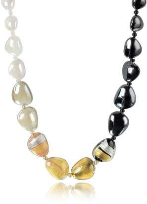 Antica Murrina Veneziana Moretta Pastel Glass Beads w/24kt Gold Leaf Necklace