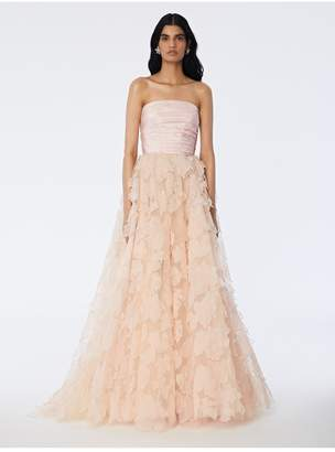 Oscar de la Renta Leaf Embroidered Tulle Gown