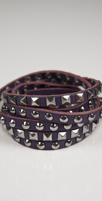 Linea Pelle Stud Cuff in Purple/Silver