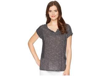 Tribal Stripe Knit Drop Shoulder Top Women's T Shirt