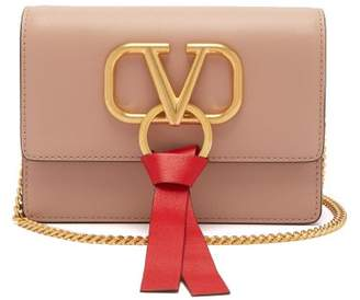 Valentino V Ring Small Leather Cross Body Bag - Womens - Light Pink