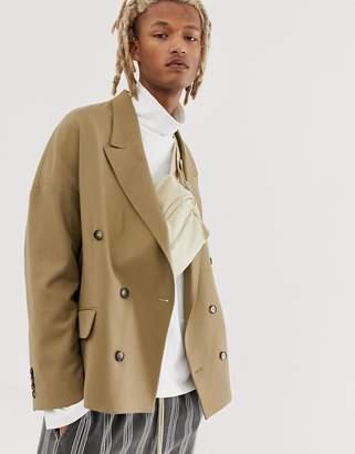 BEIGE Asos Design ASOS DESIGN oversized double breasted blazer in