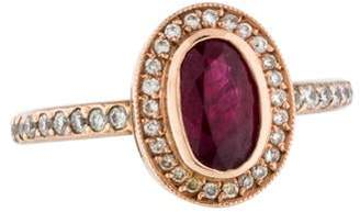 Ring 18K Ruby & Diamond Halo