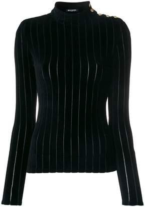 Balmain velvet striped turtleneck top