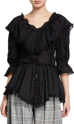 See by Chloe 3/4-Sleeve Ruffle Top with Lace