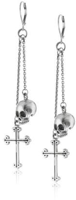King Baby Studio Skull and Traditional Cross Drops Leverback Earrings
