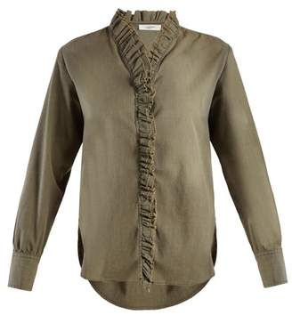 Isabel Marant Ãtoile Atoile - Lawendy Ruffle Trimmed Stretch Cotton Shirt - Womens - Khaki