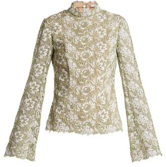 Erdem Sharon High Neck Floral Guipure Lace Top - Womens - Green