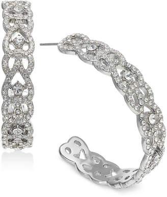 "INC International Concepts I.n.c. Large 1.6"" Silver-Tone Crystal Open Hoop Earrings"