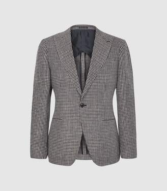 Reiss Princeton - Dogtooth Checked Blazer in Brown
