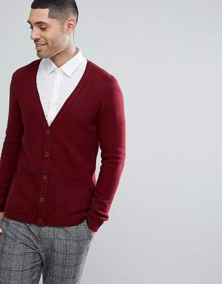 Asos DESIGN Lambswool Cardigan In Burgundy