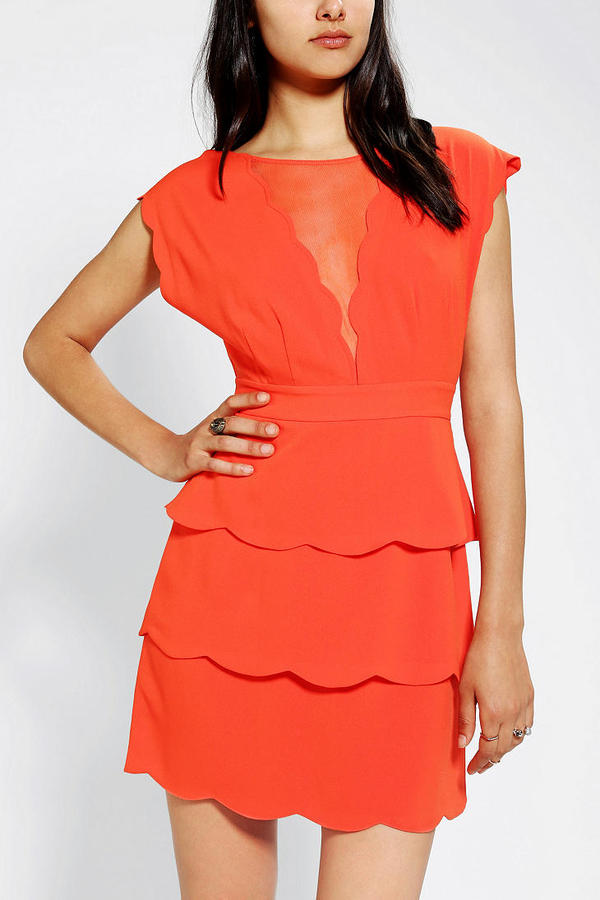 Urban Outfitters Cooperative Scallop Peplum Dress