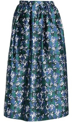 Oscar de la Renta Printed Silk-Satin Midi Skirt