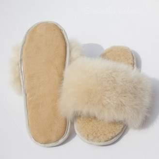 Holmes Samantha Champagne Alpaca Fur Sliders - UK 7-8 - Natural