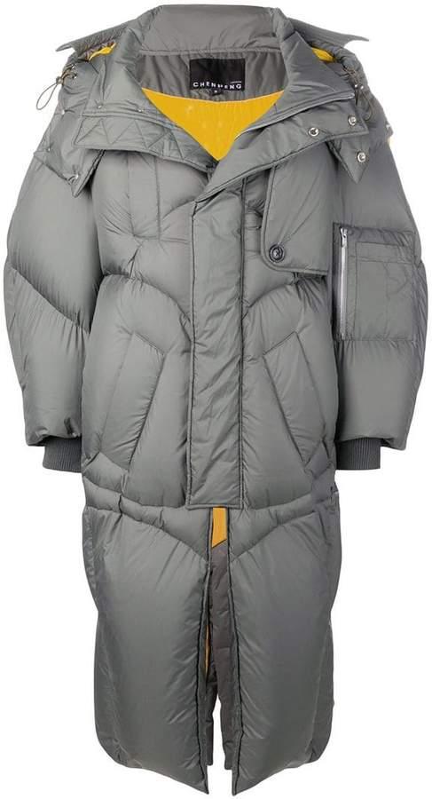 Chen Peng spread collar padded coat