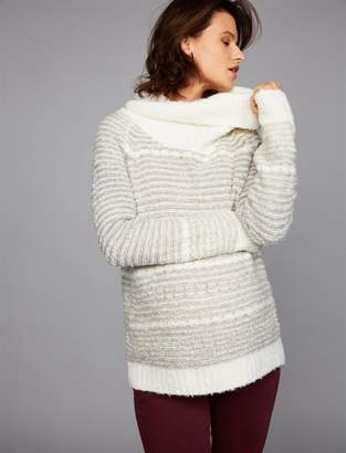 A Pea in the Pod Cowl Neck Boyfriend Fit Maternity Sweater