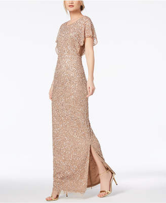 Adrianna Papell Embellished Flutter-Sleeve Gown