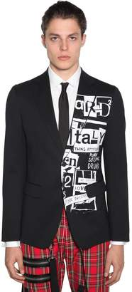 DSQUARED2 Printed Stretch Wool Blend Jacket