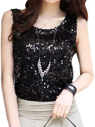 97d4fb1e452baf YUELANDE-Women Sequin Crop Top Sparkly Shirt Glitter Slim Vest Tank Top US M