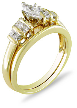 Zales 1 2 CT T W Marquise Diamond Bridal Set in 14K Gold