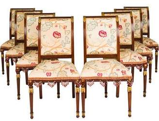 Set of 8 Floral Upholstered Dining Chairs