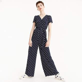 J.Crew Petite short-sleeve wrap jumpsuit in polka dot