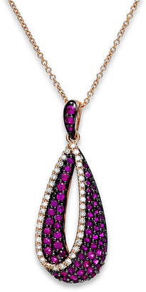 Effy Amore by Ruby (7/8 ct. t.w.) and Diamond (1/6 ct. t.w.) Pendant Necklace in 14k Rose Gold