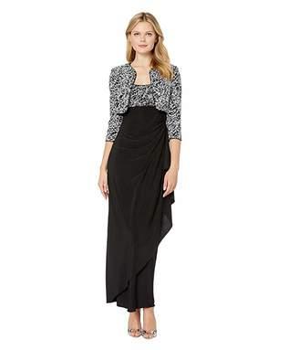 Alex Evenings Long Empire Waist Bolero Jacket Dress
