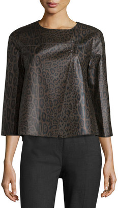Lafayette 148 New York Odene Asymmetric Leather Topper Jacket, Granite $425 thestylecure.com