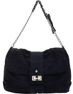 Lanvin Pise Grosgrain Shoulder Bag- Navy