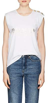 Balmain Women's Logo Cotton Sleeveless T-Shirt - White