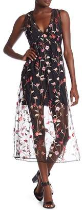 Dance and Marvel Floral Embroidered Mesh Midi Dress