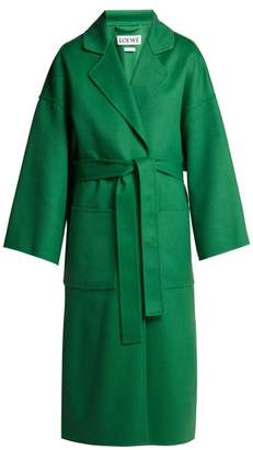 Loewe - Belted Wool And Cashmere Blend Coat - Womens - Green
