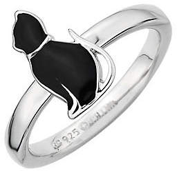 Simply Stacks Sterling Black Enamel Cat Sitting